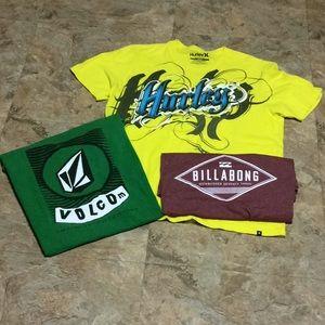 Hurley Volcom Billabong Men's T-shirt Bundle